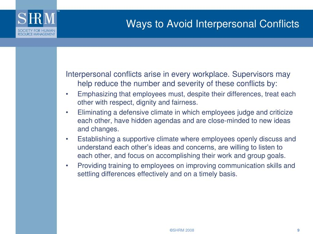 Ways to Avoid Interpersonal Conflicts