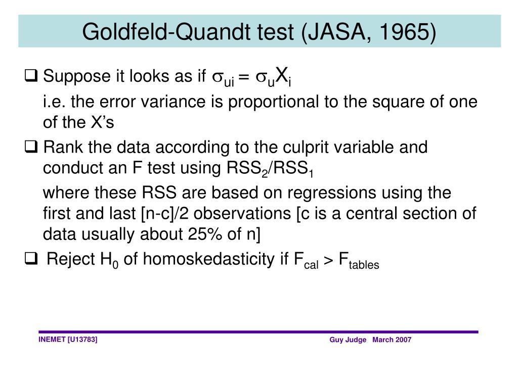 Goldfeld-Quandt test (