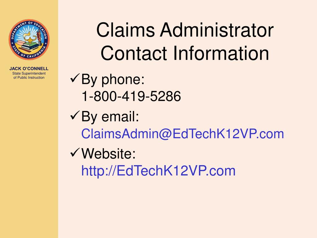 Claims Administrator Contact Information