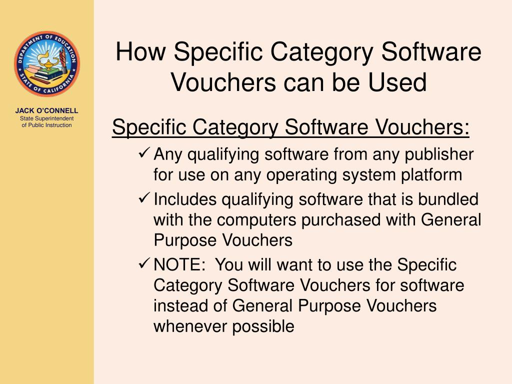 How Specific Category Software Vouchers can be Used