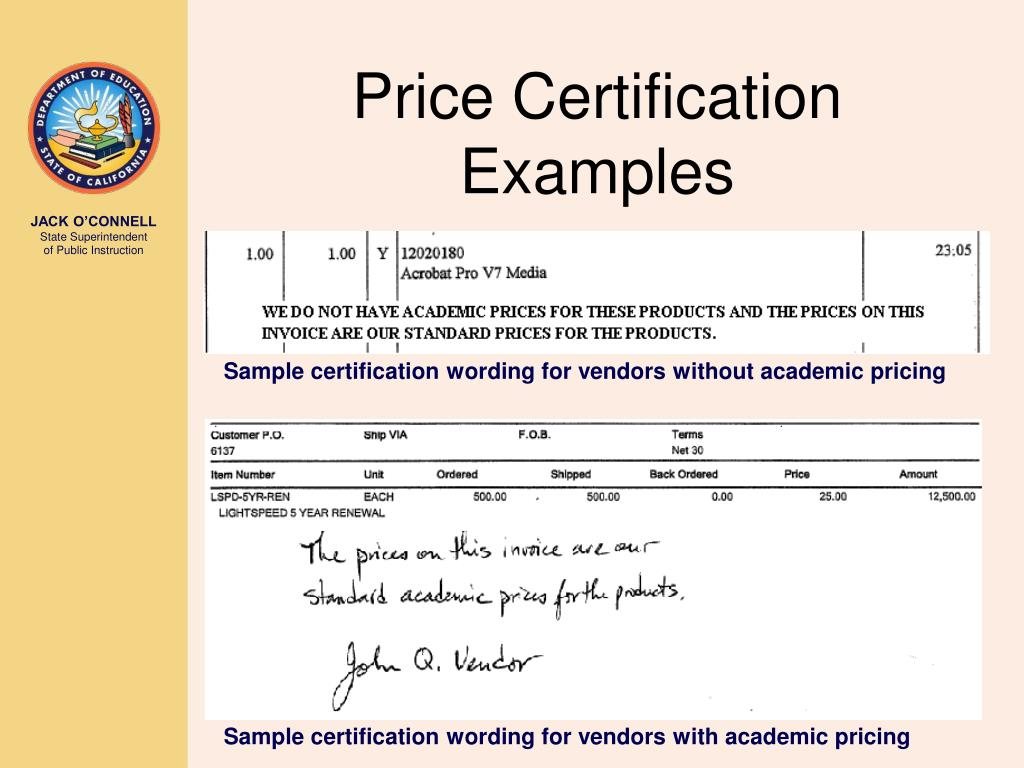 Price Certification Examples