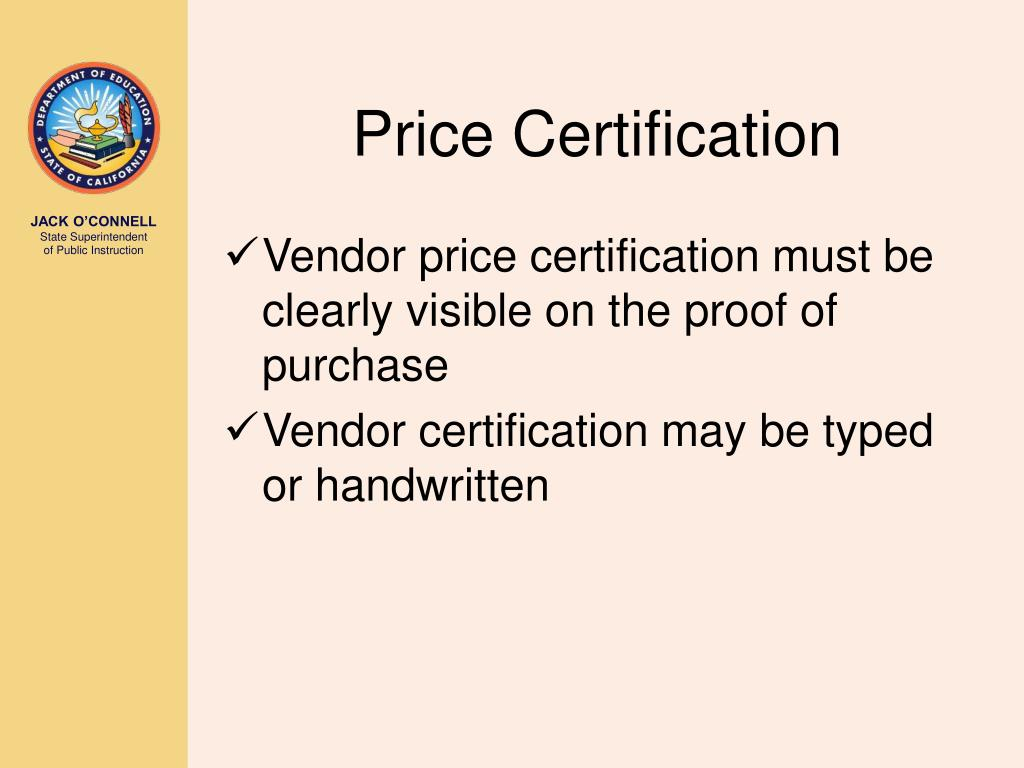 Price Certification