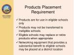 products placement requirement