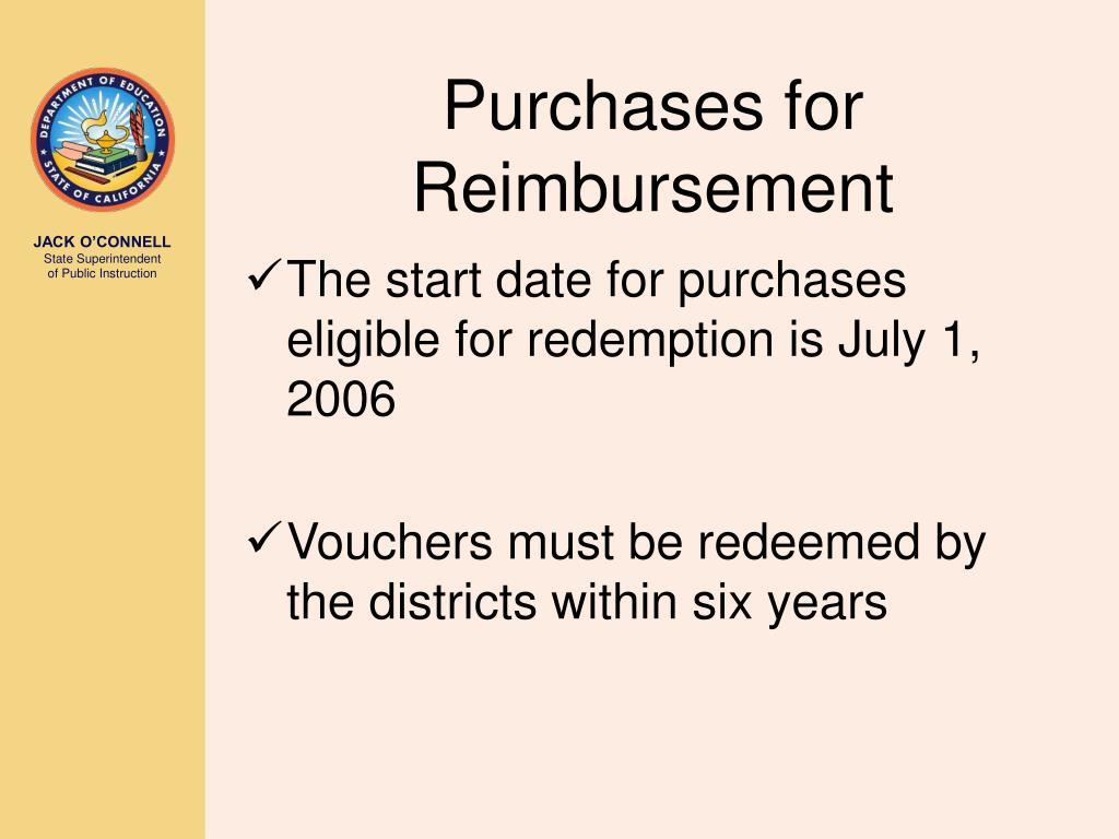 Purchases for Reimbursement