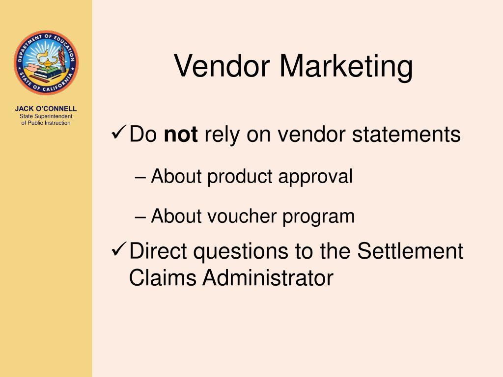Vendor Marketing