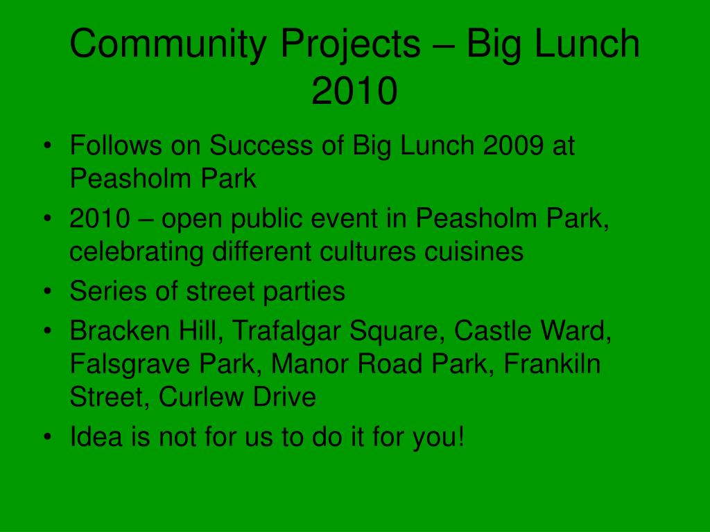 Community Projects – Big Lunch 2010