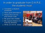 in order to graduate from d a r e the students must