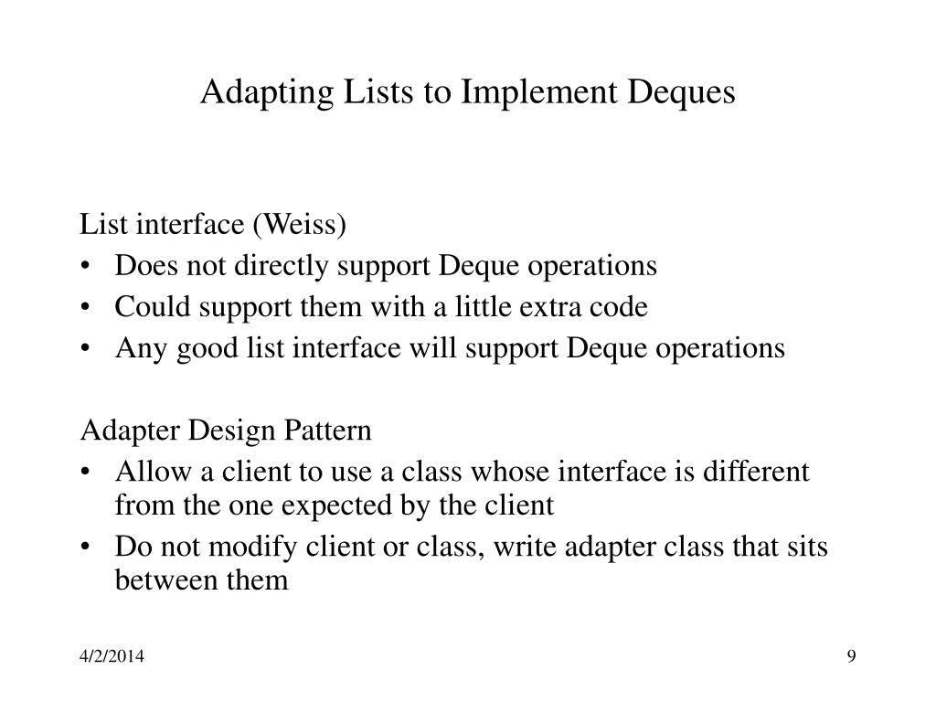 Adapting Lists to Implement Deques