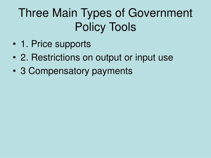 Three main types of government policy tools