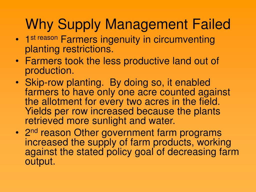 Why Supply Management Failed