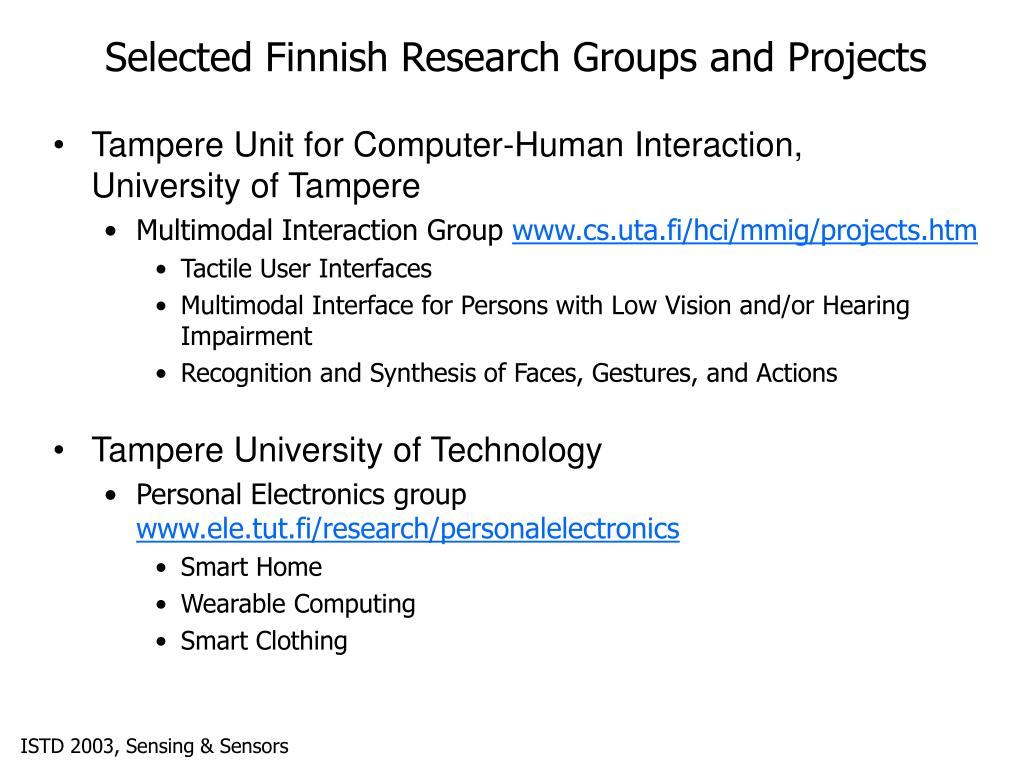 Selected Finnish Research Groups and Projects