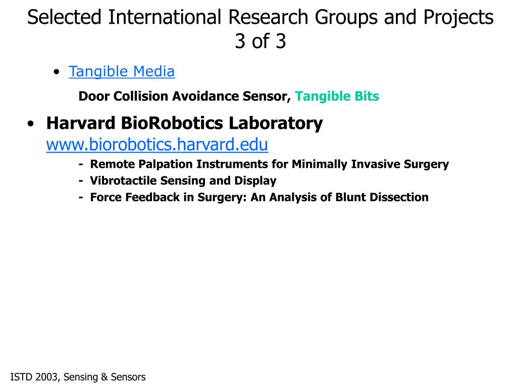 Selected International Research Groups and Projects 3 of 3