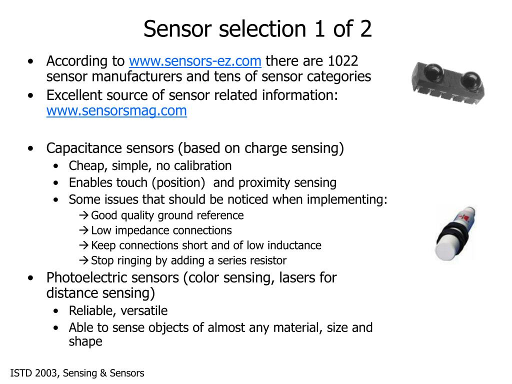 Sensor selection 1 of 2