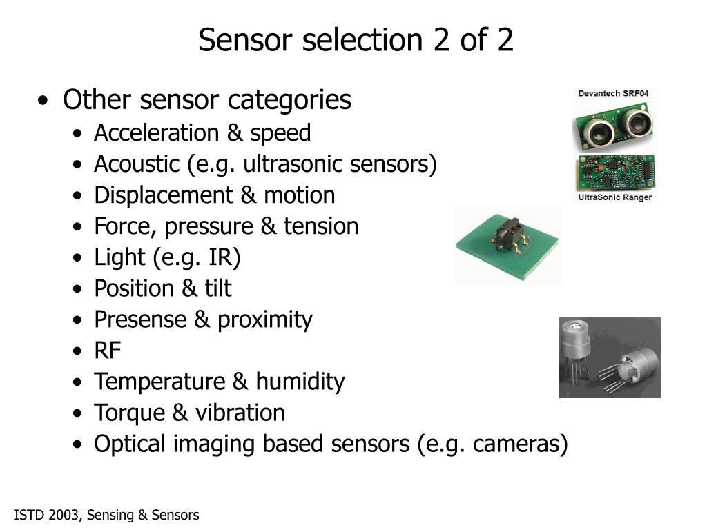 Sensor selection 2 of 2