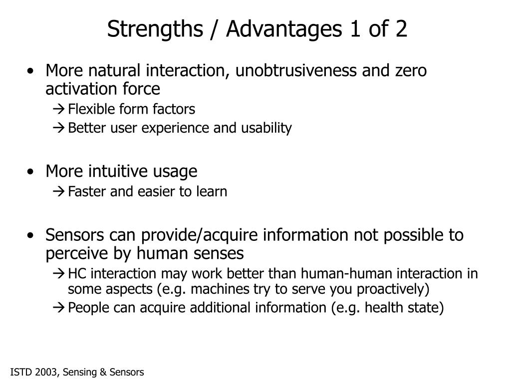 Strengths / Advantages 1 of 2