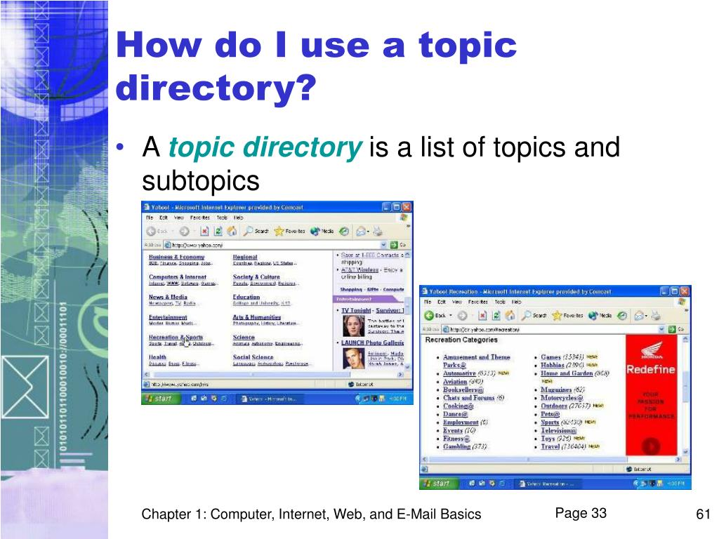How do I use a topic directory?