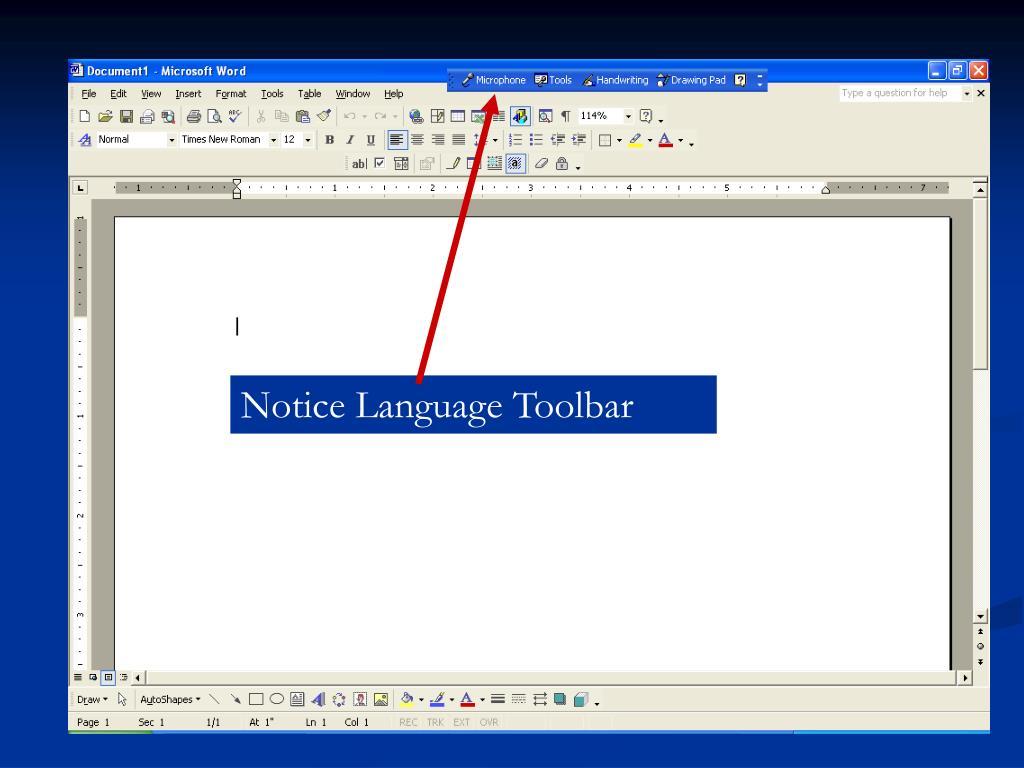 Notice Language Toolbar