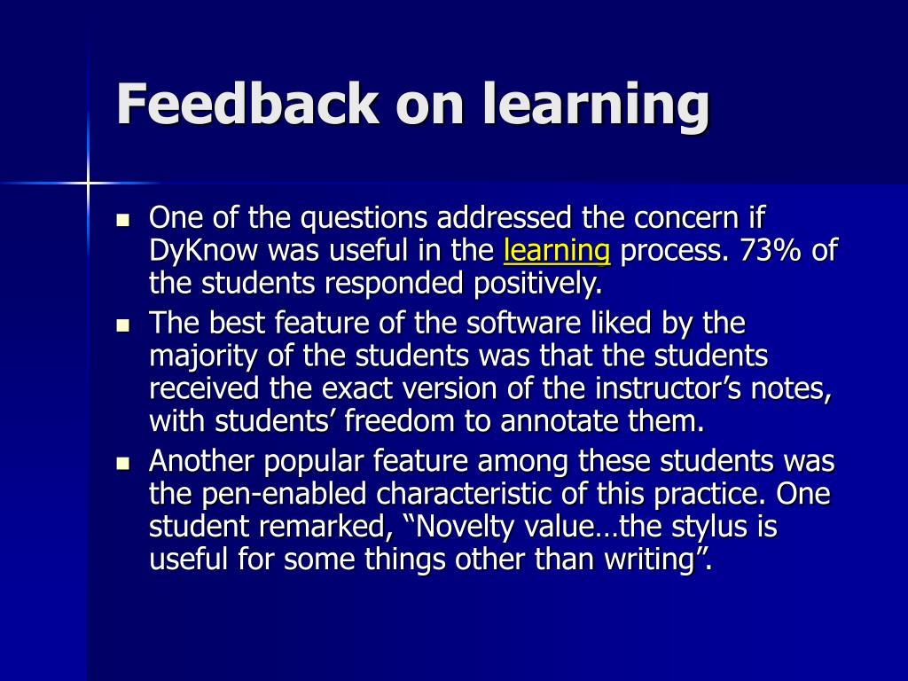 Feedback on learning