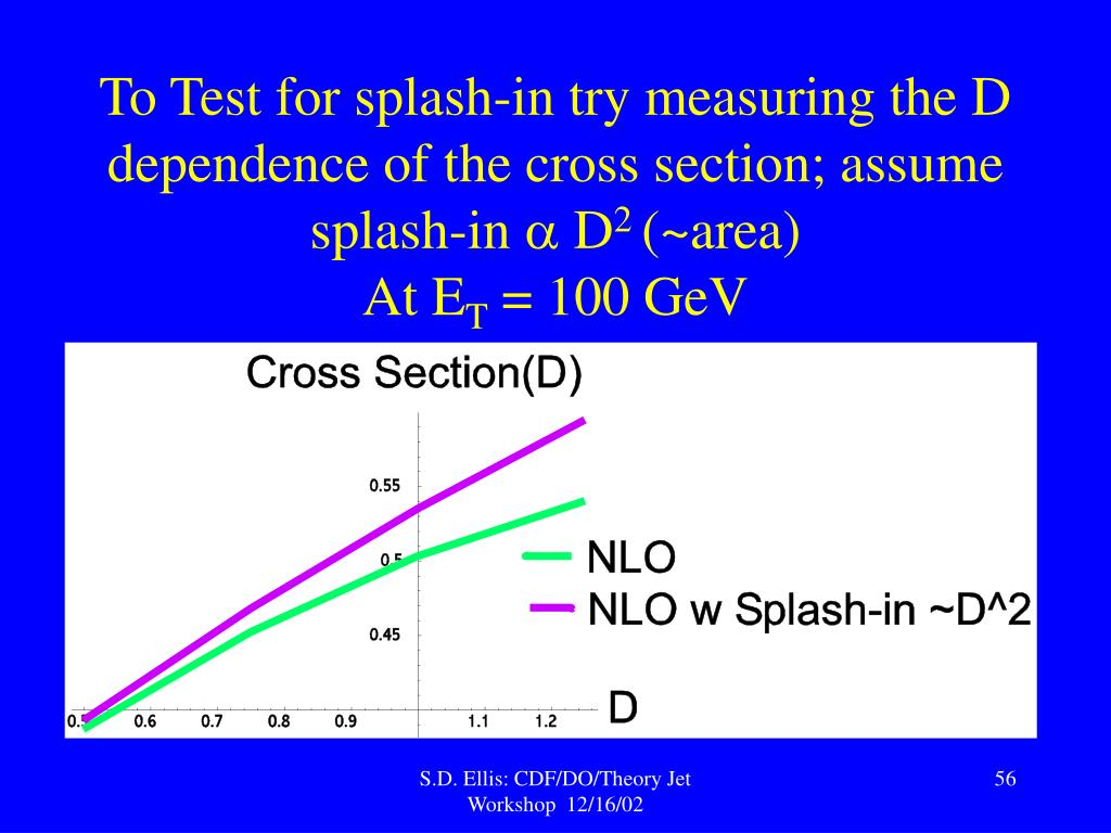 To Test for splash-in try measuring the D dependence of the cross section; assume splash-in