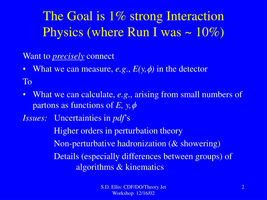 The Goal is 1% strong Interaction Physics (where Run I was ~ 10%)