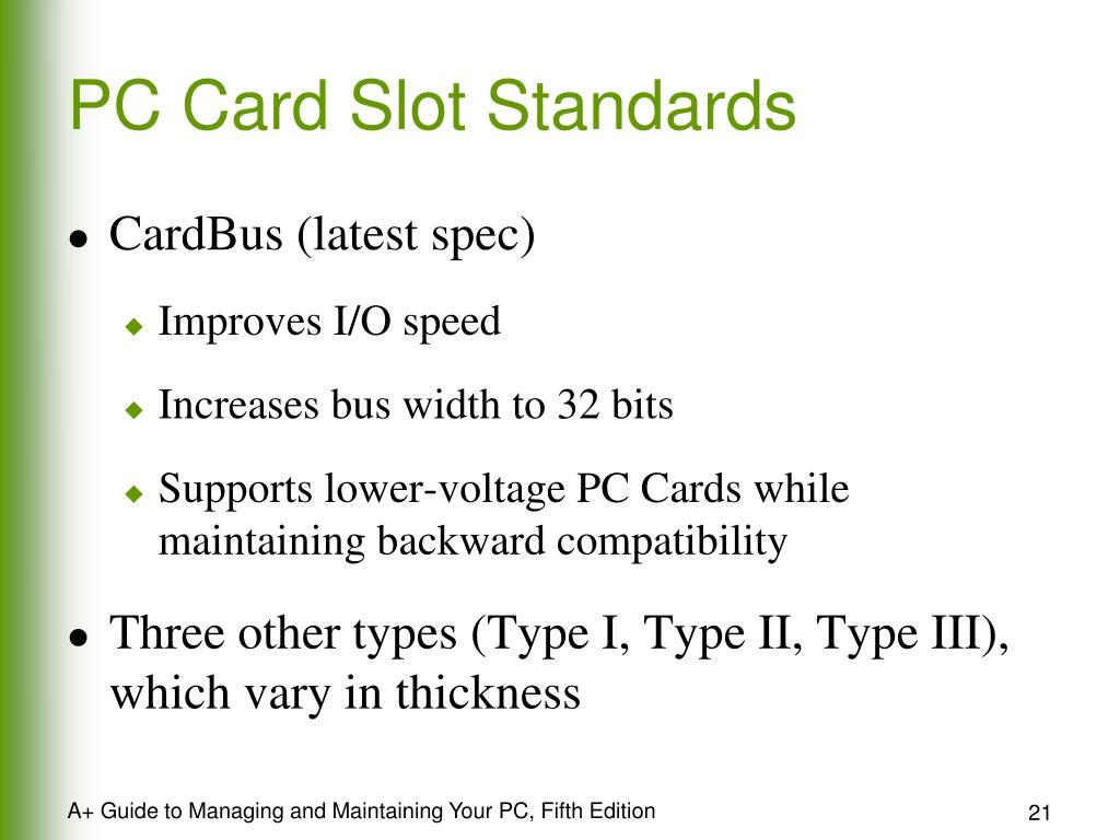 PC Card Slot Standards