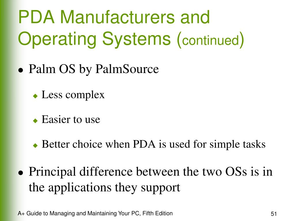 PDA Manufacturers and Operating Systems (