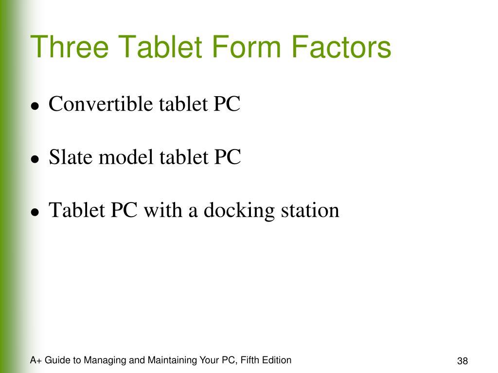 Three Tablet Form Factors