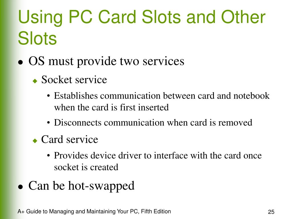 Using PC Card Slots and Other Slots
