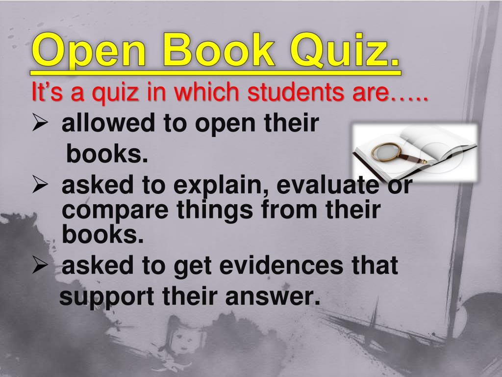 open book philosophy quiz Philosophy 101 - introduction to philosophy - course description and a final exam--are open-book, open-note any quiz may be made up (or.