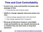 time and cost controllability
