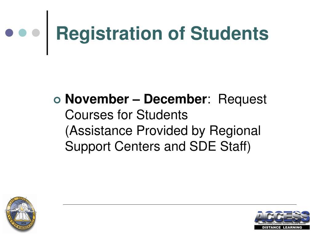 Registration of Students
