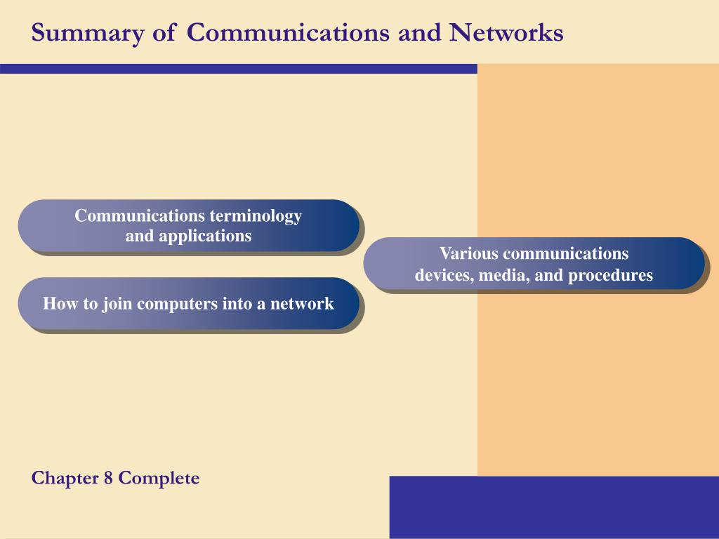 Summary of Communications and Networks