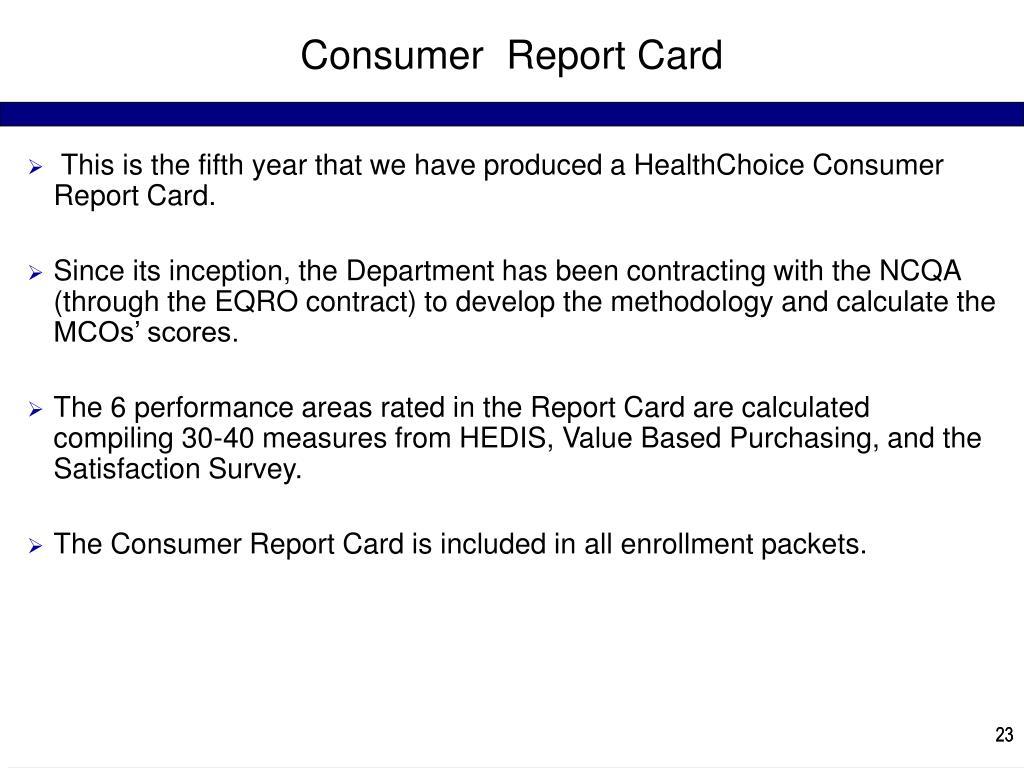 Consumer  Report Card