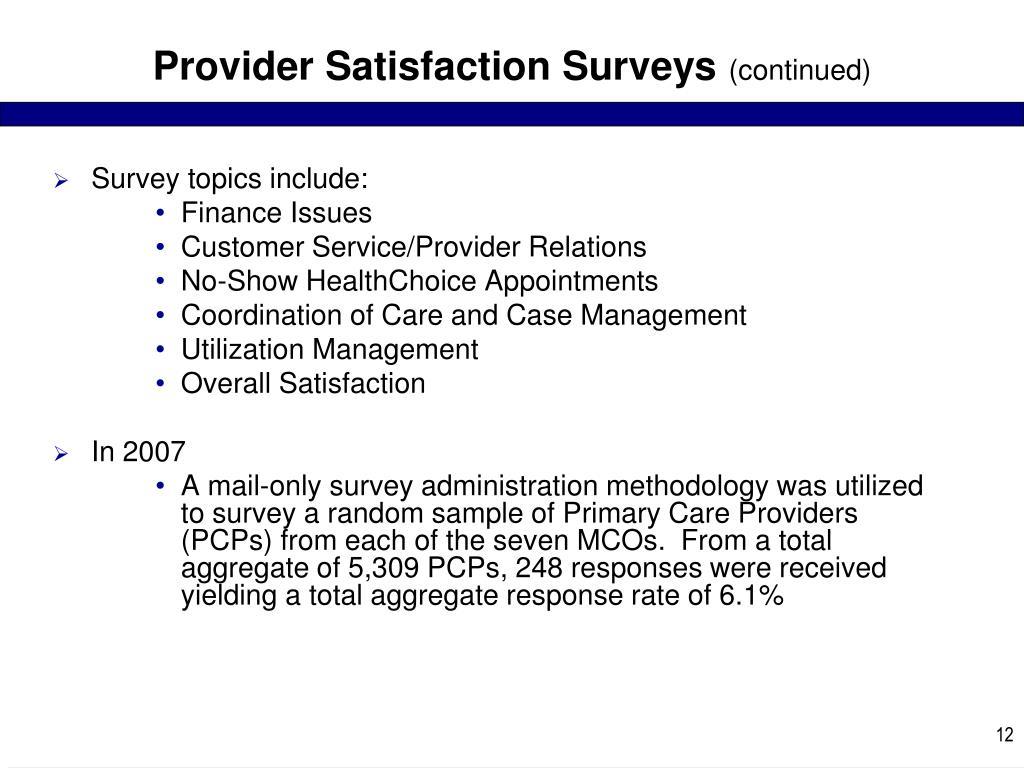 Provider Satisfaction Surveys