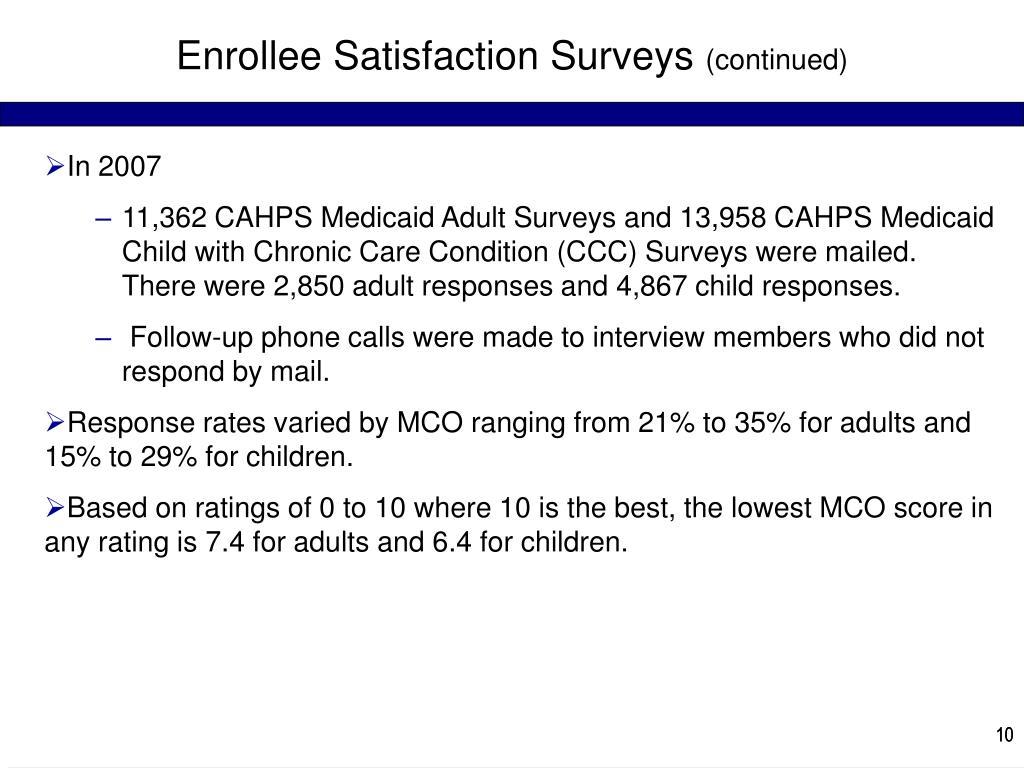 Enrollee Satisfaction Surveys