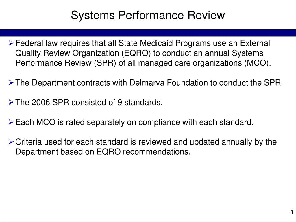 Systems Performance Review