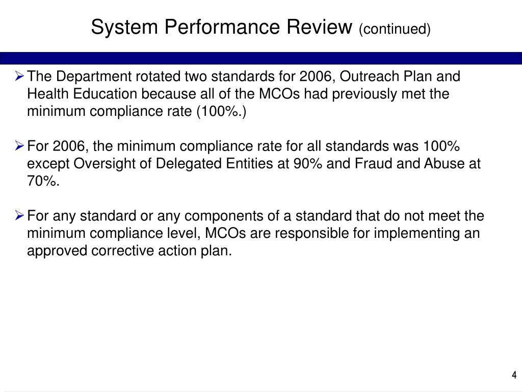 System Performance Review
