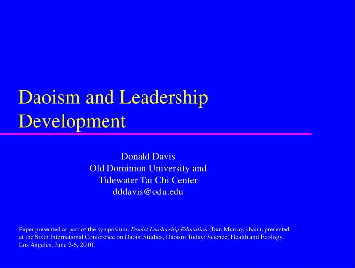 Daoism and leadership development