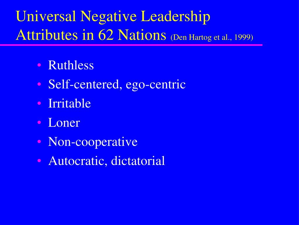 Universal Negative Leadership Attributes in 62 Nations