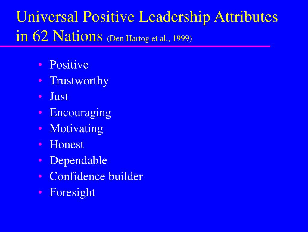 Universal Positive Leadership Attributes in 62 Nations