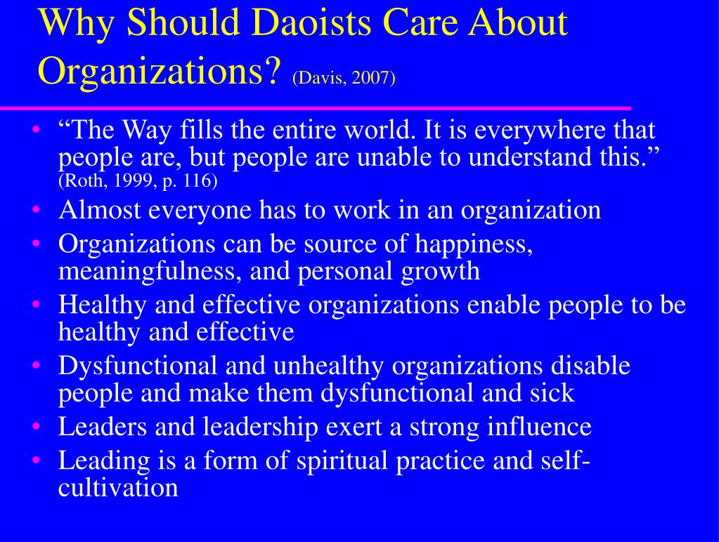 Why Should Daoists Care About Organizations?