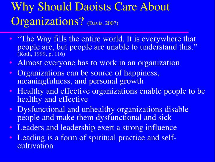Why should daoists care about organizations davis 2007
