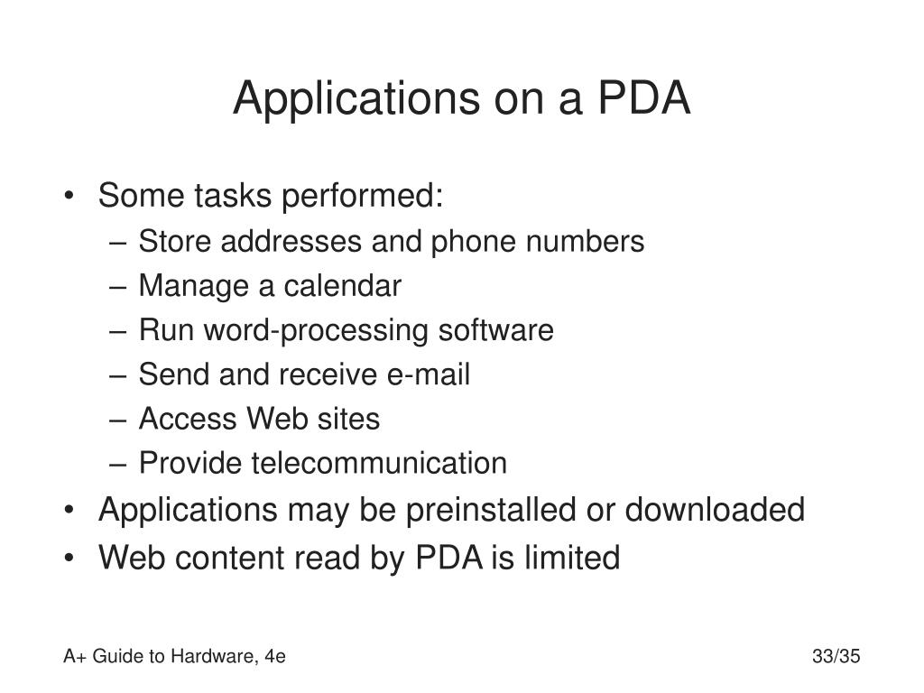 Applications on a PDA