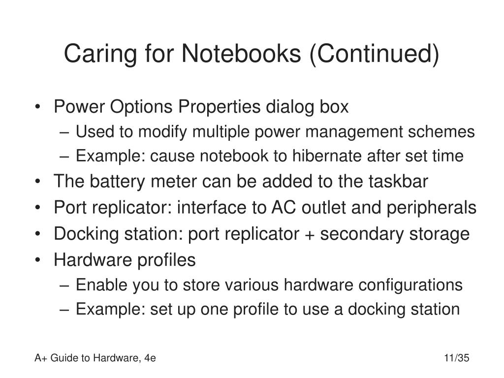 Caring for Notebooks (Continued)
