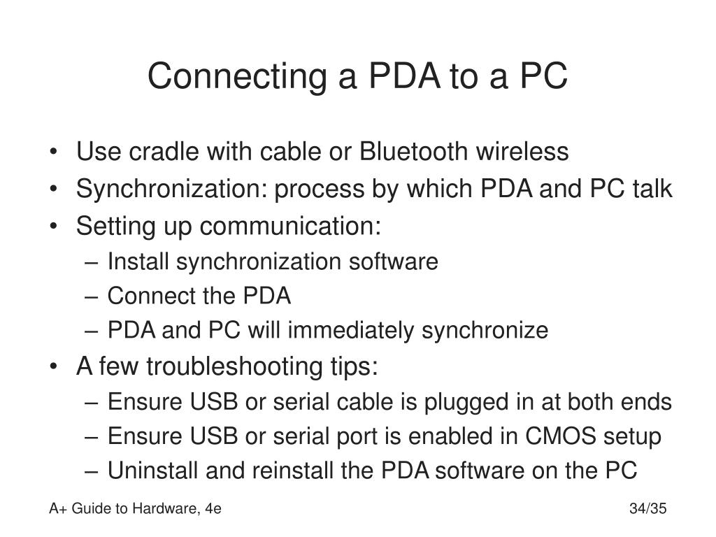 Connecting a PDA to a PC