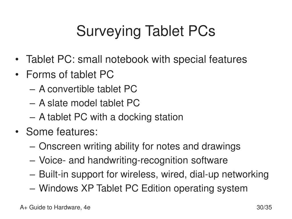 Surveying Tablet PCs
