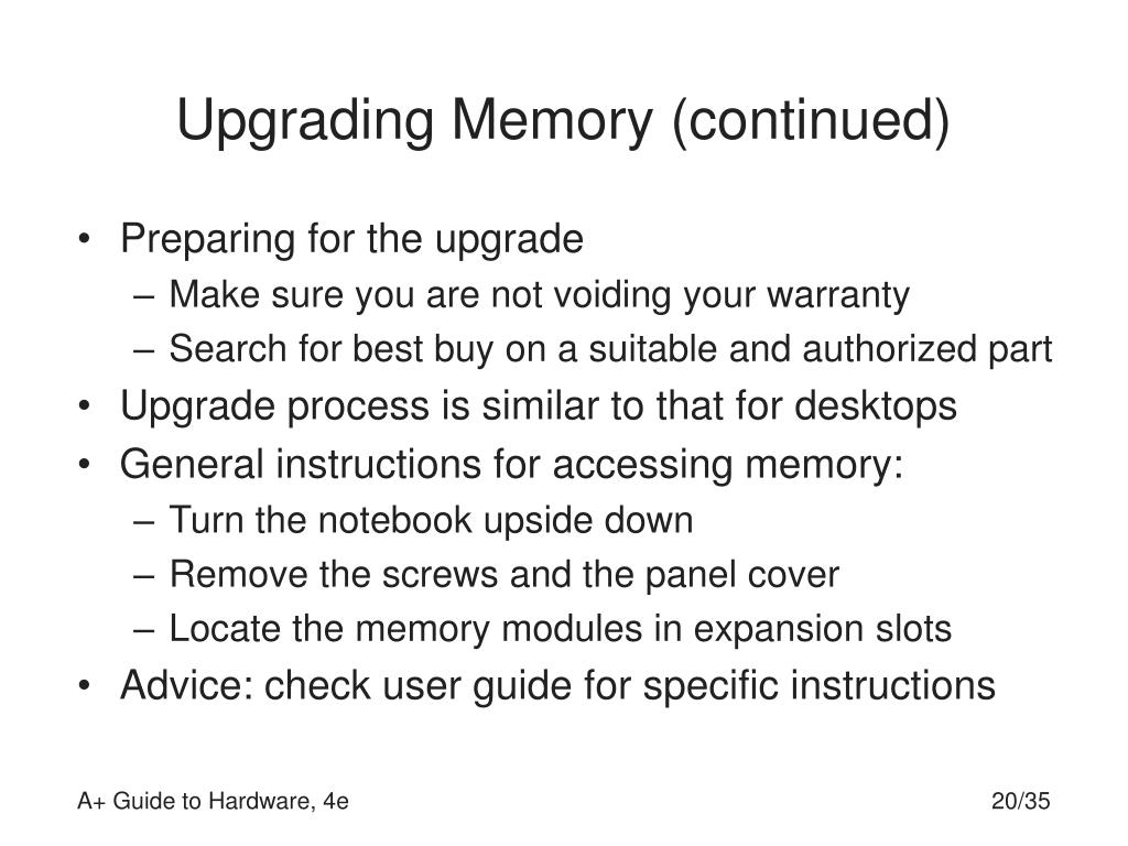 Upgrading Memory (continued)