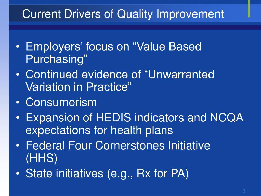 Current Drivers of Quality Improvement