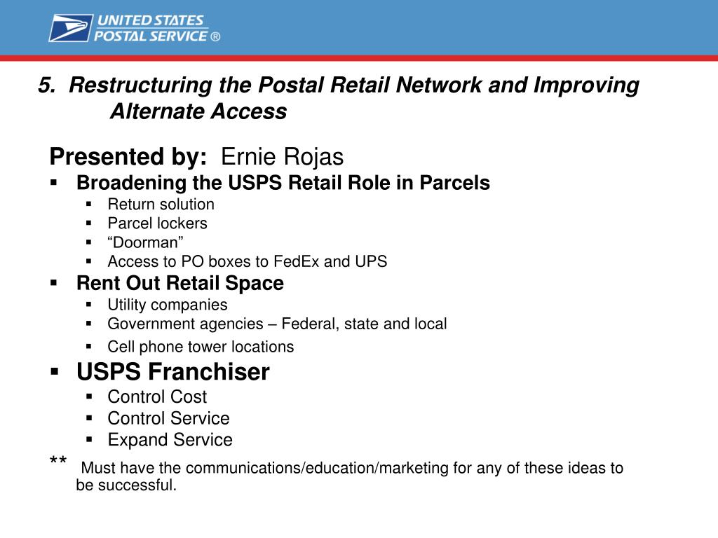 5.  Restructuring the Postal Retail Network and Improving 	Alternate Access