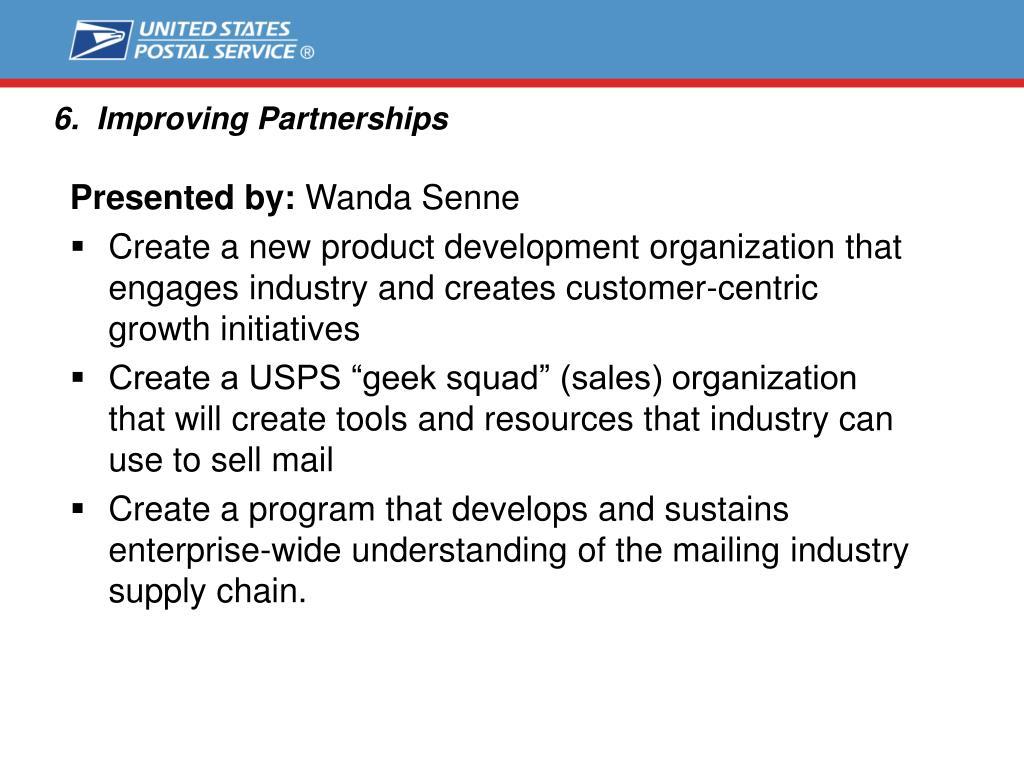 6.  Improving Partnerships